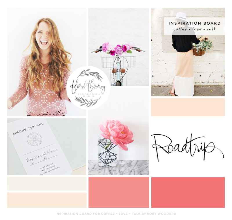 inspiration board for coffee + love + talk | by kory woodard
